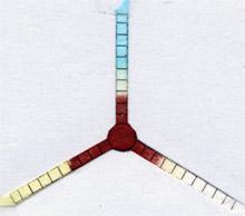 Pieza de papel tratada con anticuerpos que revela el tipo de sangre.