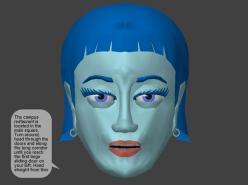La robotrecepcionista Hala tiene gestos y el monitor se mueve de lado a lado, igual que una cabeza. Hala tiene su historia, una personalizada y motiva a las personas a conversar con ella.
