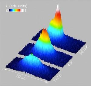 Al enfriarse los excitones a solo una fracción arriba de cero absoluto, se condensan en la parte inferior de una trampa electroestática y espontáneamente forman ondas de materia. (Crédito: UC, San Diego)