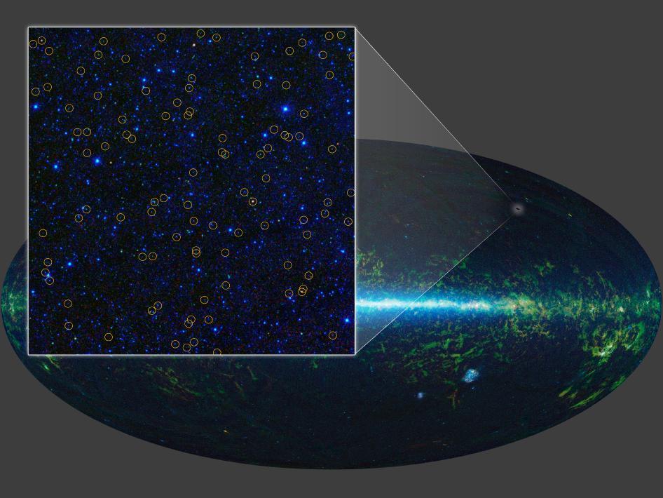 WISE ha identificado millones de candidatos a quásar. Un quásar es un agujero negro supermasivo con una masa superior en millones o miles de millones de veces a la de nuestro sol. El agujero negro se alimenta del gas y polvo circundante, atrayendo la materia hacia sí mismo. A medida que la materia cae hacia el agujero negro, se vuelve extremadamente caliente y brillante. Esta imagen aumenta una región pequeña del cielo estudiado por WISE, cubriendo un área tres veces mayor que la luna. Los candidatos a agujeros negros supermasivos están marcados con círculo amarillo (Crédito: NASA/JPL-Caltech/UCLA)
