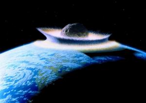 Meteorito al golpear la Tierra. (Crédito: Don Davis/NASA)