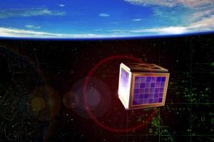 Reproducción del AAU CubeSat construido por estudiantes de la Universidad Aalborg, en Dinamarca