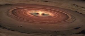 Concepto artístico de la formación de un planeta, basado en modelos de la Universidad de Texas (crédito: Texas Advanced Computing Center)