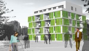 Primer edificio en el mundo con un sistema de sombra consistentes en micro-algas se construye ya en el suburbio de Wilhemsburg, en Hamburgo. La casa estará lista en marzo del 2012. (Crédito: Arup Germany GmbH)