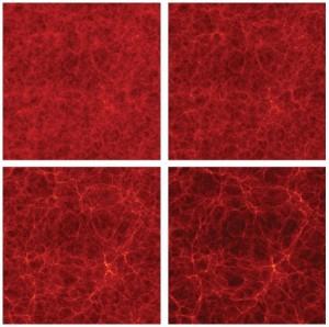 La simulación Bolshoi modela la evolución de la materia oscura, la cual se cree responsable de la estructura a gran escala del universo. Algunas instantáneas de la simulación muestran la distribución de materia oscura a 500 millones y 2.2 mil millones de años (arriba) y 6 mil millones y 13.7 mil millones de años (abajo) después del Big Bang. (Crédito: Simulation, Anatoly Klypin and Joel R. Primack; Visualization, Stefan Gottlöber/Leibniz Institute for Astrophysics Potsdam)