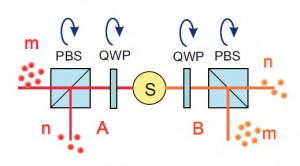 Correlaciones cuánticas en un estado de Bell simple. La fuente S emite pulsos de luz en los rayos A y B (separados espacialmente para más claridad). En cada pulso, el número de fotones emitidos en modo de polarización ortogonal en los dos rayos son aleatorios pero exactamente iguales (Crédito: Timur Sh. Iskhakov et al.)