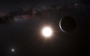 Impresión artística del planeta (derecha) orbitando la estrella Alfa Centauri (centro), miembro de un sistema triple de estrellas, las más cercanas a nuestro Sistema Solar. Alfa Centauri A se meustra en la parte baja izquierda. Nuestro sol es un punto pequeño arriba a la derecha.