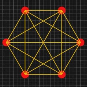 Los posibles estados cuánticos de una cadena de partículas pueden ser representados como puntos en el espacio, con líneas conectando estados que pueden intercambiarse sin cambio alguno en el total de energía. Investigadores del MIT y otras instituciones demostraron que tal tipo de redes están interconectadas densamente, con tráfico intenso entre las líneas que unen los puntos. (Crédito: Christine Daniloff)