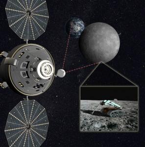 Concepto artístico de astronautas en una cápsula, realizando operaciones robóticas directas en la parte lejana de la luna  (crédito: Lockheed Martin)