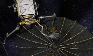 Robot de servicio a satélites reemplaza las partes electrónicas defectuosas en satélites de comunicación fuera de operación. (Crédito: DARPA)