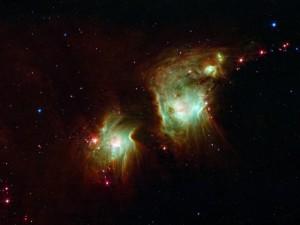 Se cree que la molécula hidroxilamina tiene un papel vital en el enfriamiento de las primeras estrellas del universo y es posible que juegue un papel importante en la formación de estrellas actuales. Arriba, nuevas estrellas en la nebulosa Messier 78, de gran cantidad de formación de estrellas.  (Crédito: NASA/JPL-Caltech)