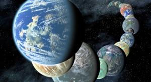 Representación artística de un surtido de planetas más allá de nuestro sistema solar. (crédito: NASA Ames/JPL-Caltech)