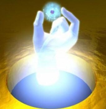 Impresión artística de la nanomanipulación de un átomo artificial  (Crédito: ICFO)