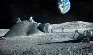 Base lunar con impresión 3D (crédito: ESA)