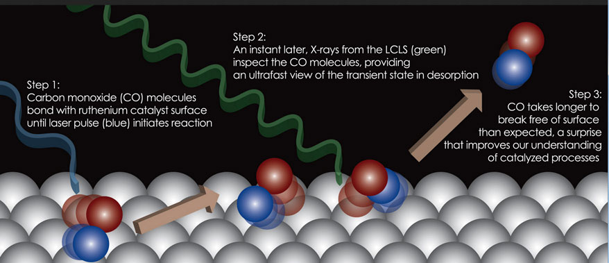 Vistas del LCLS de la superficie química (Crédito: Hirohito Ogasawara/SLAC National Accelerator Laboratory)
