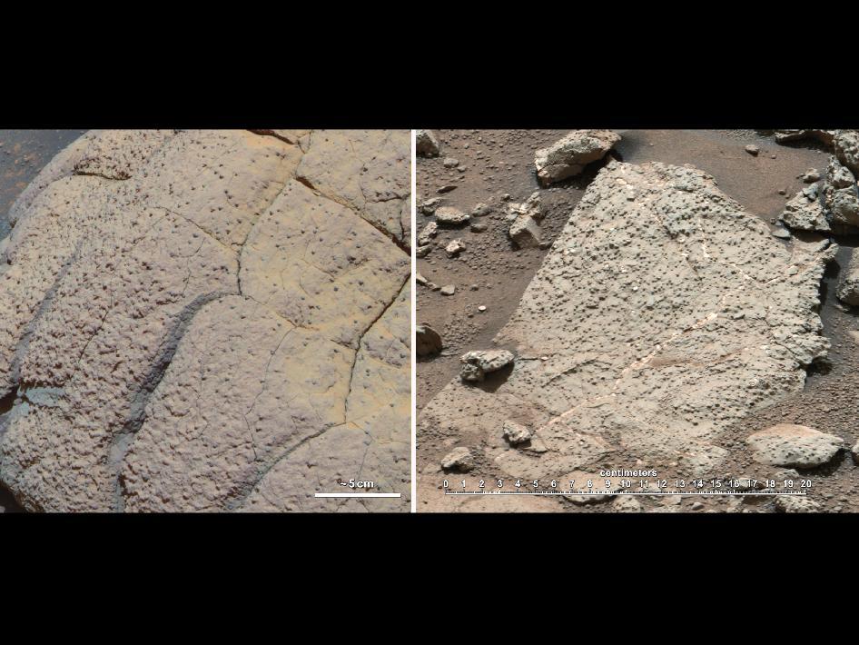 """Estas imágenes comparan rocas vistas por el rover Opportunity y el rover Curiosity, ambos de la NASA, en dos diferentes rutas en Marte. A la izquierda, la roca """"Wopmay"""" en el Cráter Endurance, Meridiani Planum, estudiada por el rover Opportunity. A la derecha, las rocas del """"Sheepbed"""" en la Bahía Yellowknife, al final de un sistema antiguo de ríos o el lecho de un lago que podría haber significa condiciones favorables para la vida microbiana, visto por Curiosity. (Crédito: NASA/JPL-Caltech/Cornell/MSSS)"""
