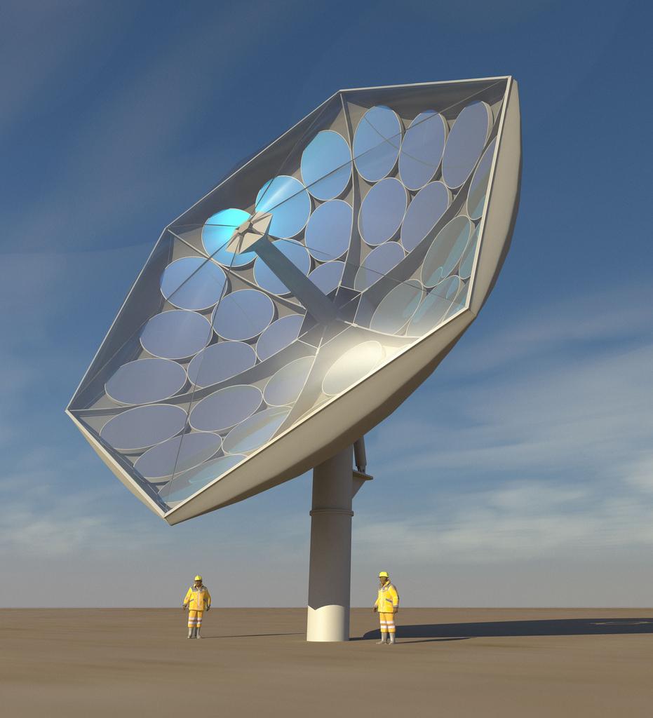 Render de Airlight Energy del prototipo del sistema HCPVT actualmente en desarrollo.