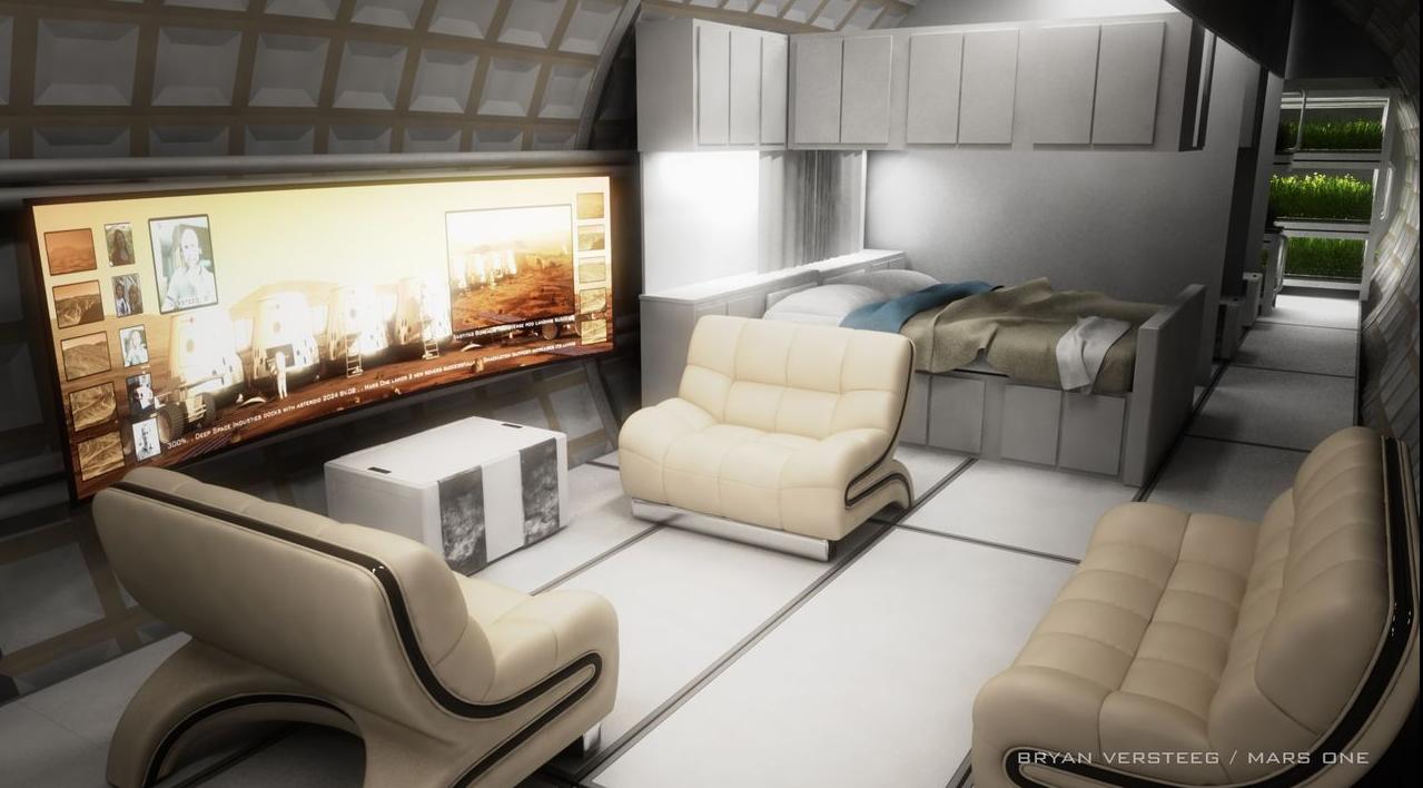 Sala de Mars One habitat (crédito: Mars One)