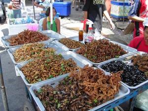 Puesto de venta de insectos en Bangkok, Tailandia. (Crédito: Takoradee/Wikimedia Commons)