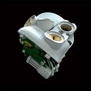 Esta imagen muestra las válvulas biológicas en la parte superior del corazón artificial de fabricado por Carmat.  (Crédito: Carmat)