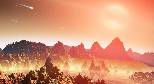 En esta concepción artística se muestra un planeta joven alrededor de una estrella fría. Una mezcla de químicos potencialmente formadores de vida pueden verse en la base de las rocas. (Crédito: NASA)