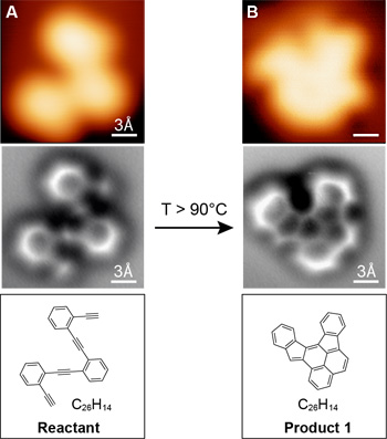 Imágenes tomadas con microscopio de fuerza atómica de no contacto (nc-AFM por sus siglas en inglés) de una molécula antes y después de una reacción de recocido (T>90 grados C) son muchos mejores que las imágenes tomadas con un microscopio de efecto de túnel (arriba) y son idénticas a los diagramas clásicos de estructura molecular (abajo). (crédito: UC Berkeley)