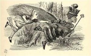 """""""Todo lo que tú puedas correr servirá para permanecer en el mismo lugar"""", dijo la Reina Roja a Alicia. (ilustración de Sir John Tenniel del libro de Lewis Carroll Through the Looking-Glass, 1871, crédito: Wikimedia Commons)"""