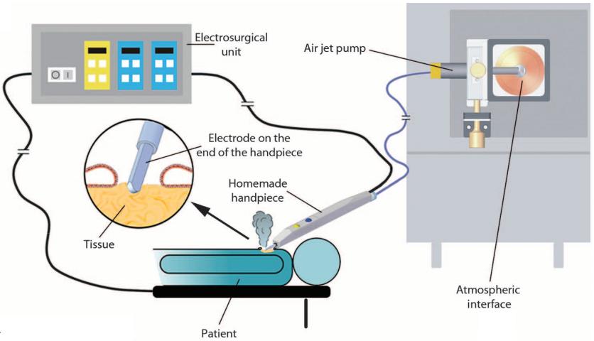Diagrama esquemático del sistema experimental iKnife utilizando electrocirugía monopolar.  (Crédito: Imperial College London/Science Translational Medicine)