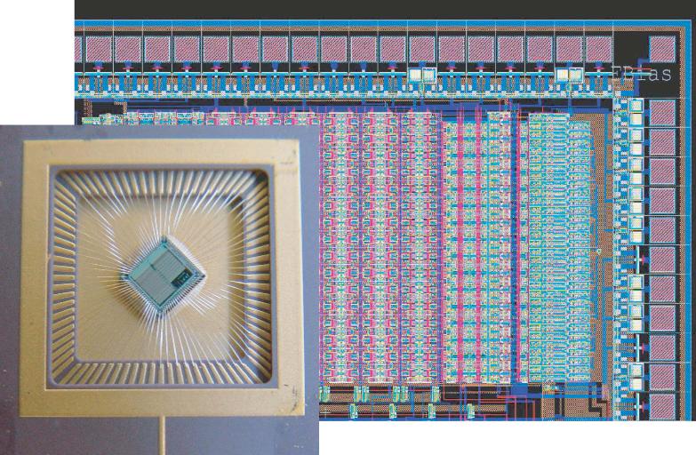 Fotografía y organización de un chip multi-neuronal que contiene un arreglo de neuronas y circuitos de sinapsis analógico-digital de silicio, que puede reproducir las propiedades de respuestas biofísicas neurales en tiempo real.  El chip fue fabricado utilizando tecnología CMOS estándar de 0.35um y ocupa un área de 10 mm cuadrados. El chip contiene 128 circuitos neuronales y 5120 circuitos de sinapsis. Las neuronas están conectadas para formar una red el-ganador-se-lleva-todo, y las sinapsis implementan una dinámica temporal real así como mecanismos de plasticidad de aprendizaje dependientes del tiempo pico. (Crédito: University of Zurich)