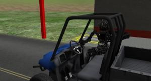 La primera tarea VRC requería que un robot caminara, entrara y condujera un vehículo en una ruta con obstáculos, y luego salir del vehículo y caminar hasta un punto final. (crédito: DARPA)