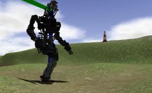 En la segunda tarea VRC, los equipos debían guiar al robot en distintos tipos de terreno, incluyendo lodo, terreno no parejo, y ruta con escombros. (crédito: DARPA)