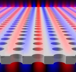 """La luz es confinada dentro de un bloque plano con arreglos de agujeros periódicos, aunque la luz, teóricamente, """"tiene permiso"""" de escapar. Los colores azul y rojo indican superficies con campo eléctrico similar. (Crédito: Chia Wei Hsu)"""