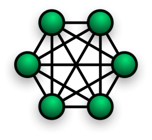 Ilustración de una red mesh (crédito: Foobaz/Wikimedia Commons)