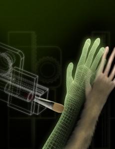 El brazo avatar evoca la ilusión de mano de goma en un mono.  (crédito: Duke University)