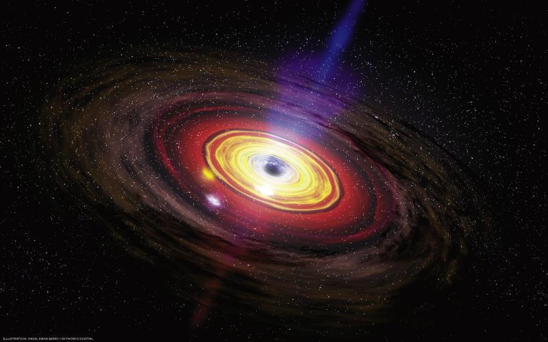 Concepción artística de un agujero negro generando una emisión a chorro. Hace dos millones de años, el agujero negro supermasivo en el centro de nuestra galaxia se volvió 100 millones de veces más poderoso que su estado actual. (Crédito: NASA/Dana Berry/SkyWorks Digital)