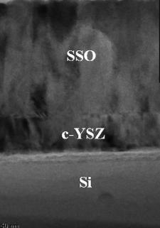 Sección transversal de micrográfica de transmisión de electrón en una capa delgada de óxido de estaño y estroncio en un chip.  (Crédito: Y. F. Lee et al./APL)