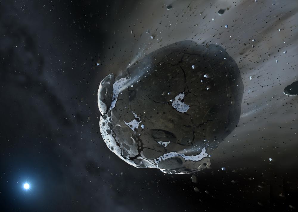 Impresión artística de un planeta rico en agua siendo destrozado por las fuerzas gravitatorias de la enana blanca GD 61. Crédito: Mark A. Garlick, space-art.co.uk, University of Warwick and University of Cambridge)
