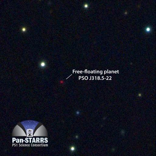 Imagen multicolor del telescopio Pan-STARRS1 del planeta PSO J318.5-22 que vaga libremente en la constelación de Capricornio. El planeta es extremadamente frío y ligero,  casi 100 mil millones de veces más débil en luz óptica que el planeta Venus. Casi toda su energía es emitida en luz infrarroja. La imagen es 125 arcsegundos de un lado. (Crédito: N. Metcalfe & Pan-STARRS 1 Science Consortium)