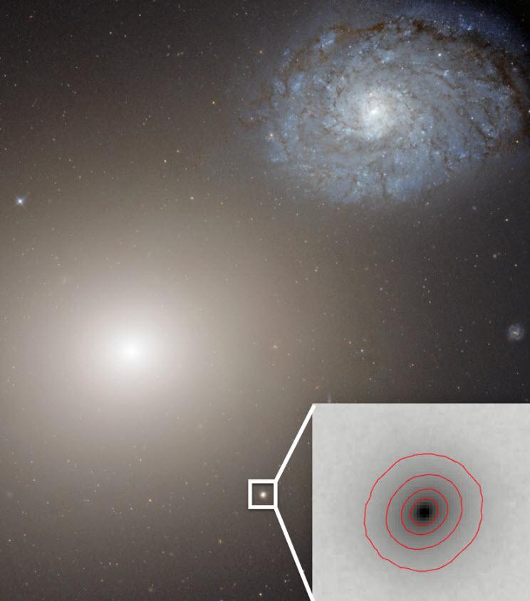 Esta imagen del telescopio espacial Hubble muestra la enorme galaxia M60 a la izquierda y la galaxia enana ultracompacta M60-UCD1 más abajo y hacia la derecha, así como un recuadro ampliado. Un nuevo estudio descubrió que la galaxia M60-UCD1 es la galaxia más pequeña conocida con un agujero negro supermasivo en su centro, sugiriendo que esta galaxia enana era mucho más grande pero sus capas externas han sido arrancadas por la gravedad de la M60 en el lapso de miles de millones de años. La gravedad de la M60 también afecta a la galaxia NGC4647, derecha arriba, y las dos colisionarán eventualmente. (Crédito: NASA/Space Telescope Science Institute/European Space Agency)