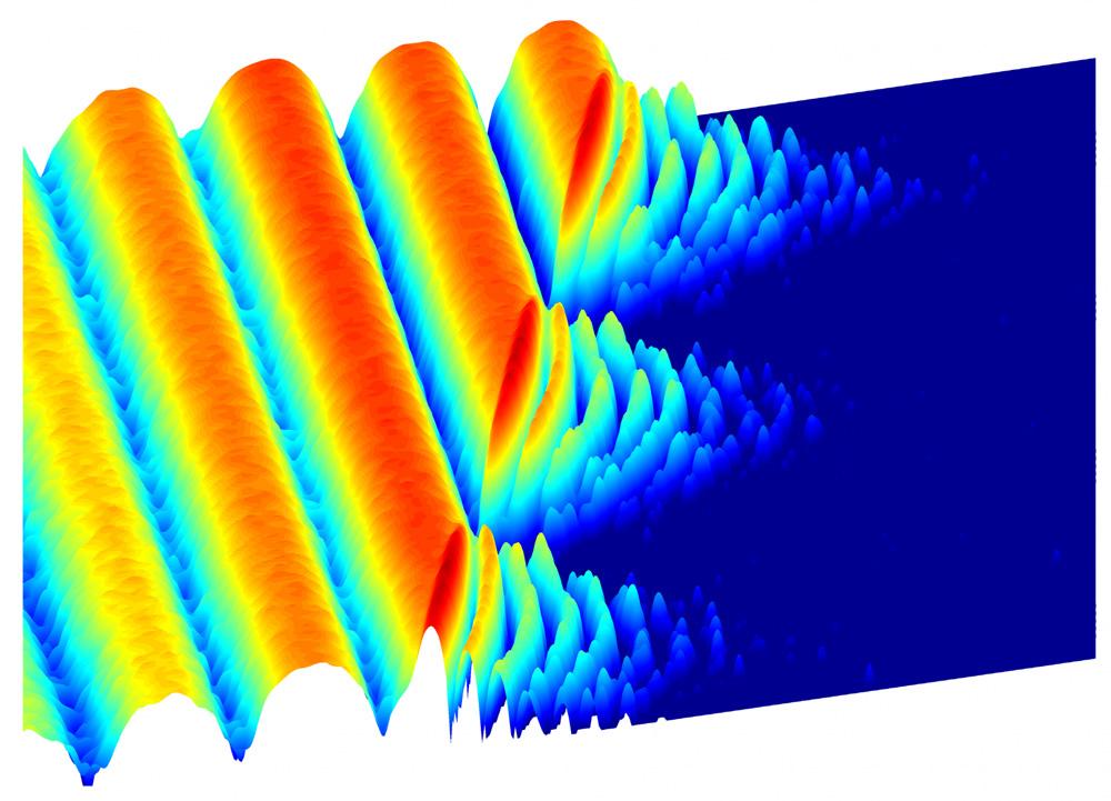 """La oscilación de fotones crea una imagen de luz congelada. Primero, los fotones fluyen fácilmente entre dos sitios superconductores, generando las ondas grandes que se muestran en el lado izquierdo. Después de cierto tiempo, los científicos hacen que la luz """"se congele"""", atrapando los fotones en un lugar específico. Las oscilaciones rápidas del lado derecho de la imagen son evidencia de ese nuevo comportamiento de luz atrapada. (Crédito: Princeton University)"""