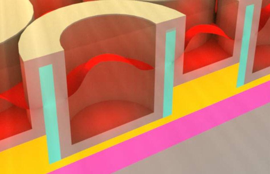 Esta reproducción muestra un cristal metálico dieléctrico fotónico que almacena energía solar en forma de calor. (Crédito: Jeffrey Chou)