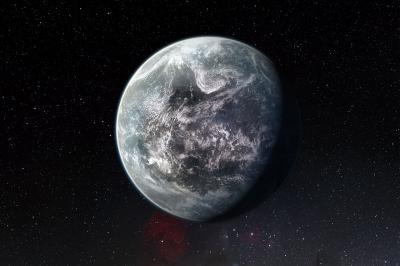 Este trabajo artístico muestra un planeta orbitando HD 85512, estrella similar al Sol, en la parte sur de la constelación Vela.  Este planeta es uno de las 16 supertierras descubiertas por HARPS en el Observatorio de la Silla.