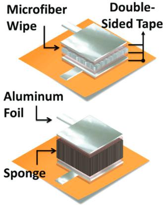 Dos diseños de un sensor de presión utilizando una estructura paralela: (superior) microfibra y esponja, (abajo) estructura más sensible con espacios de aire y esponja. A medida que la presión aplicada aumenta, el grosor dieléctrico disminuye, incrementando así la capacitancia de salida. para medirla, la hoja de aluminio se conecta a un circuito resistor-capacitor (circuito RC), que a su vez está conectado a un dispositivo Arduino o Raspberry Pi para calcular el cambio de presión asociado. (Crédito: Joanna M. Nassar et al./Advanced Materials Technologies)