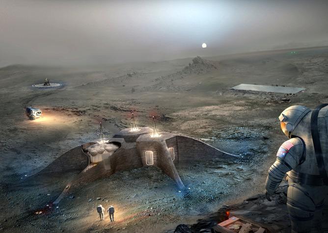 Colonia impresa en 3D (crédito: NASA/Team Gamma)