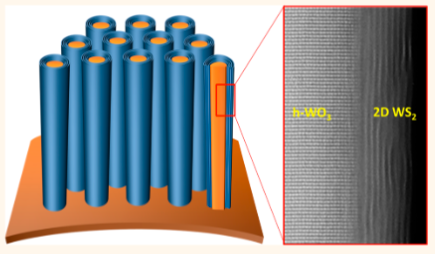 Diseño de supercapacitor: un arreglo de nanocables conductores eléctricos (naranja) con una cubierta recolectadora de corriente (azul) (crédito: Nitin Choudhary et al./ACS Nano)